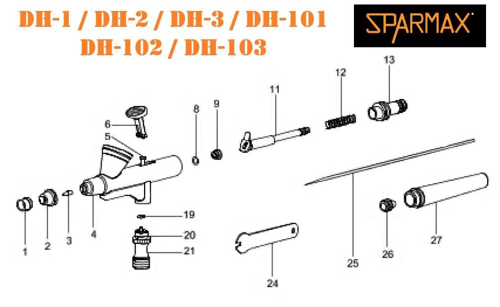 Diagrama de Aerografos Sparmax Serie DH.