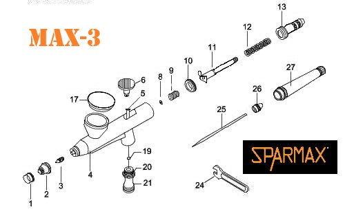 Diagrama de aerógrafo Sparmax MAX-3