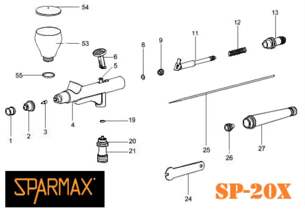 Diagrama de aerógrafo Sparmax SP-20X