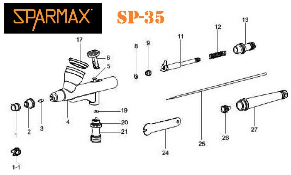 Diagrama de Aerógrafo Sparmax SP-35
