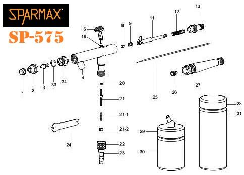 Aerógrafo Sparmax SP-575 Diagrama de refacciones