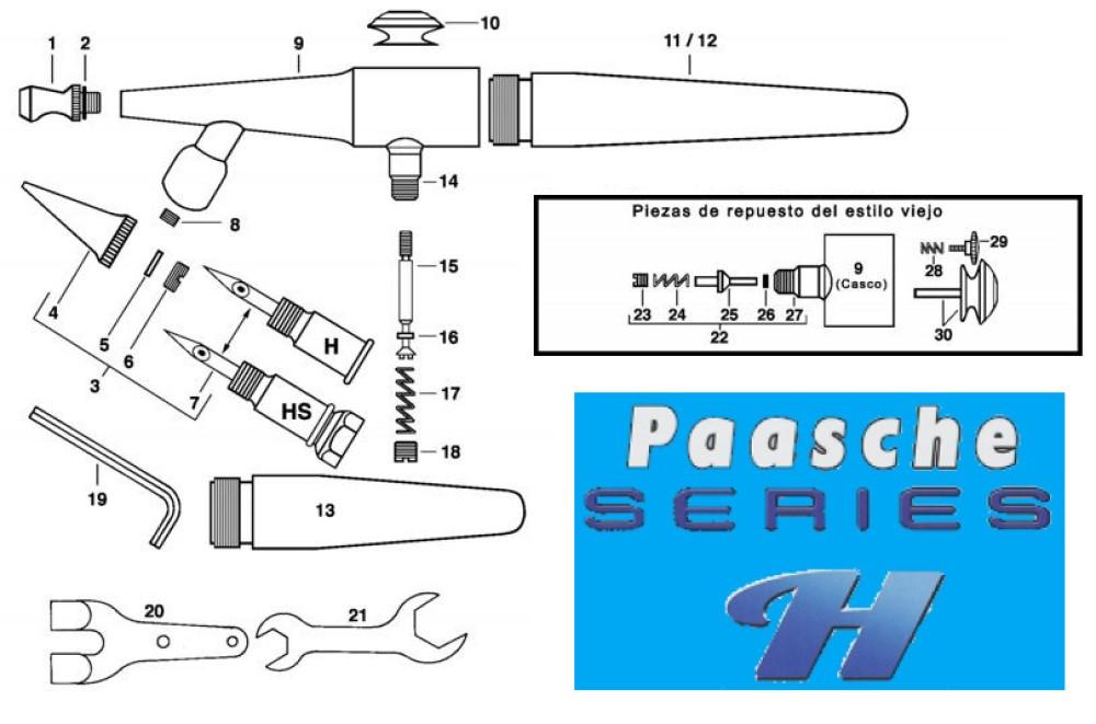 Diagrama para refacciones de aerógrafos Paasche Series H y HS