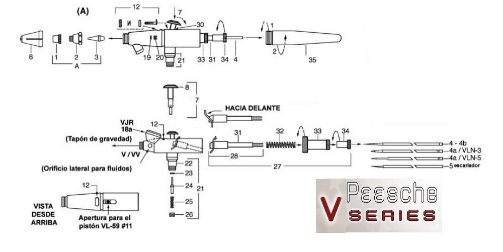 Diagrama de refacciones para aerógrafos Paasche Series V