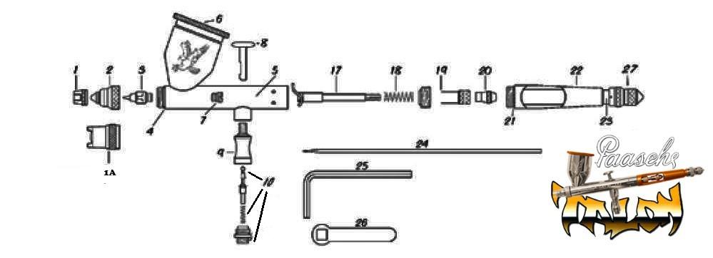 Diagrama para refacciones de aerógrafo Paasche Talon