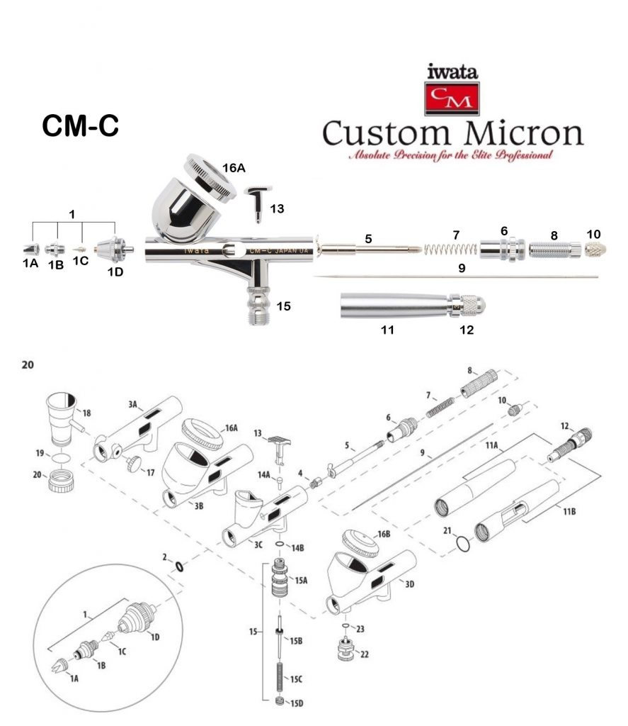 Iwata Custom Micron CM-C (Diagrama de Refacciones)