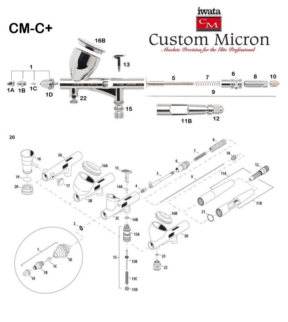 Iwata Custom Micron CM-C+ (Diagrama de Refacciones)