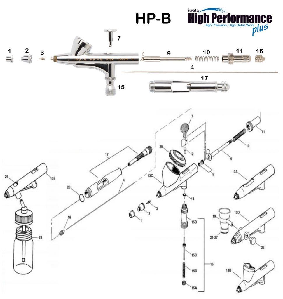 Iwata Hi Performance HP-BP (Diagrama de Refacciones)
